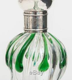 A Stuart Crystal Art Nouveau Silver & Glass Cairngorm Drop Decanter / Claret Jug