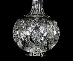 Abp American Brilliant Cut Crystal Buzzsaw & Fan 10 Decanter & Stopper 1890