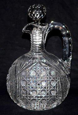 Abp American brilliant cut glass decanter, ovoid, double Hobstar, Harvard, 10t