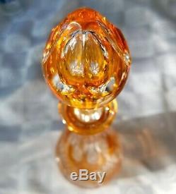 Ajka Bohemian Czech Crystal Decanter Rare Orangey Peach Cut to Clear