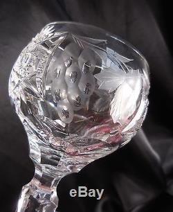Ajka Marsala Clear Cut Crystal Decanter 6 Tall Wine Glasses Nachtmann Traube