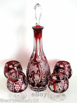 Ajka Marsala Ruby Red Cased Cut To Clear Crystal Decanter & 4 Brandy Snifters