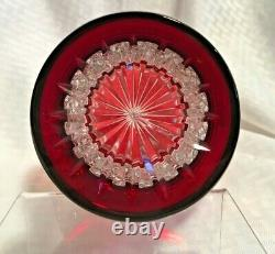 Ajka/dillards Xenia Ruby Red Decanter 15 1/2 Cut To Clear Crystal Bohemian