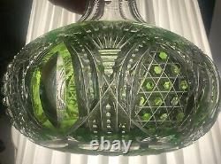 American Baccarat St. Louis Cut Glass Green to Clear Water Carafe