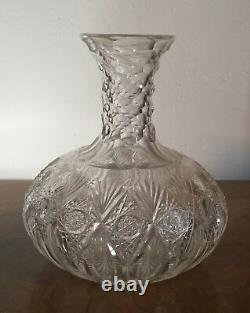 American Brilliant Cut Glass Crystal Water Carafe Wine Decanter 19th century