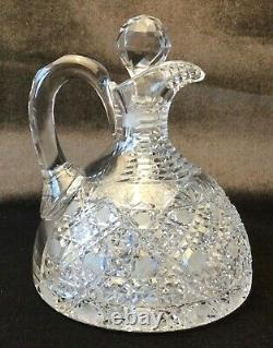 American Brilliant Cut Glass Handled Whiskey Decanter Excellent ABP