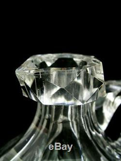 American Brilliant Cut Glass Handled Whiskey Jug / Decanter Hoare Hawkes Era