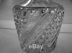 American Brilliant Cut Glass Heavy Swirl Decanter By J. Hoare Unusual Piece