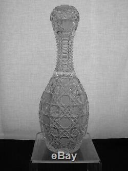 American Brilliant Cut Glass J. D. Bergen India Pattern Bowling Pin Decanter