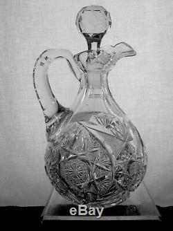 American Brilliant Cut Glass Meridein Florence Hobstar Duckbill Decanter