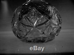 American Brilliant Cut Glass Mt Washington Primrose Pattern Globe Decanter