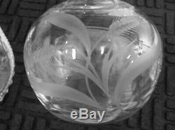 American Brilliant Cut Glass Pair Hawkes Thistle Decanters Sterling Stoppers
