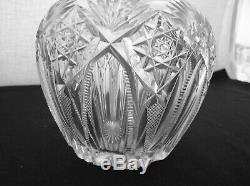 American Brilliant Cut Glass Rare Pair Of Sinclaire Cornwall Design Decanters