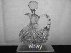 American Brilliant Cut Glass Unique Form Nice Early Decanter Wafer Base