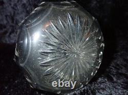 American Brilliant Period Cut Glass Barber Bottle Decanter UV Reactive Uranium