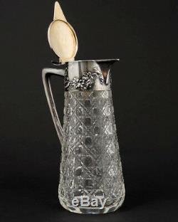 Antique 1900s Cut Glass Pitcher Wilhelm Binder 800 German Silver Grapevines 9 T