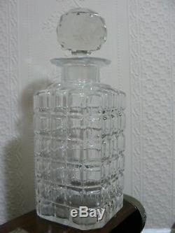 Antique 1909 Three Cut Glass Bottle Decanters Oak Cased Tantalus- All Original