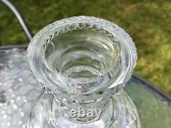 Antique 19th c Blown Cut Glass spirit Decanter Bottle 3 Ribbed Neck Georgian