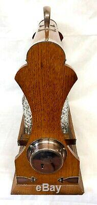 Antique 3 Decanter Tantalus Oak & Silver Plate Mounts WALKER & HALL HOLDFAST