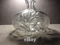 Antique ABP Brilliant Period Cut Glass Floral Gooseneck Decanter Orig. Stopper