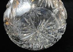 Antique ABP Brilliant Periord J D BERGEN GOLF Cut Glass Large DECANTER & STOPPER