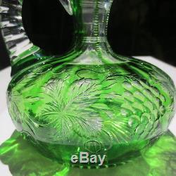 Antique ABP Cut Glass Decanter Pairpoint Dorflinger Green grape vine Silver