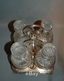 Antique A Good Georgian Set of 4Decanters in their Original Stand