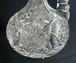 Antique American Brilliant Cut Glass Crystal Abp Handled Decanter Carafe