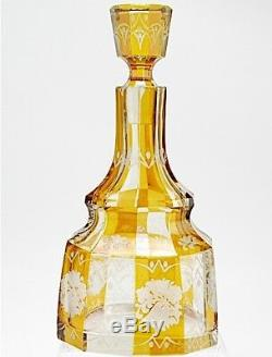 Antique Art Deco Amber Cut to Clear Bohemian Glass Decanter