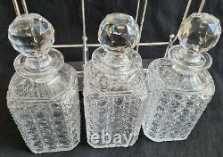 Antique Atkin Bros Sheffield Silver Plated Tantalus Hobnail Cut Glass Decanters