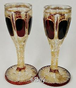 Antique BOHEMIAN MOSER Glass DECANTER SET Cordials Burgundy Gold CUT TO CLEAR