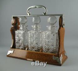 Antique Betjamanns Patent London Oak 3 Bottle Triple Decanter Locking Tantalus