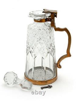 Antique Betjemanns Patent Locking Cut Glass Decanter