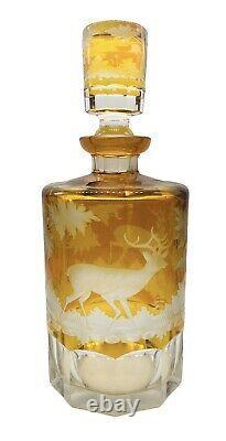 Antique Bohemian Czech Amber Cut Glass Decanter Cups Set Deer/Birds/Hunting Dog