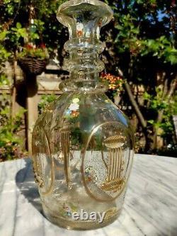 Antique Bohemian Czech Floral Enamel + Gold Gilt Facet Cut Beaded Decanter 16