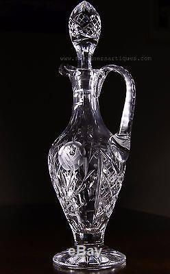 Antique Bohemian Czechoslovakian lead Crystal decanter. Hand Cut. Very unusual
