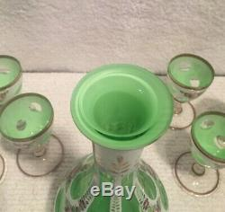 Antique Bohemian Moser Glass Decanter Set, White Overlay Cut To Green Glass