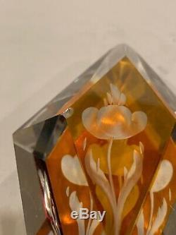 Antique Bohemian Yellow to Clear Cut Glass Decanter 5 glasses/Nový Bor/Haida