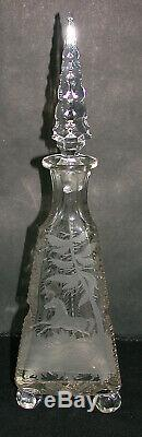Antique Bohemian-style Cut Glass Acid-etched Triangular Decanter Extra Tall