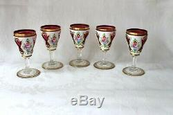 Antique Bohemian white overlay cut to clear enamel decanter set end 19th century
