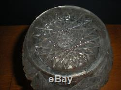 Antique Brilliant Cut Crystal Glass 3 Ring Decanter Lg Faceted Ball Stopper