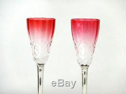 Antique Cranberry & Clear Glass Crystal Decanter Cordials Sterling Silver Trim