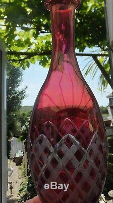 Antique Cranberry Cut Wine Decanter 4 Glasses + 1 Tiny Glass Insect Mk Gold Glow
