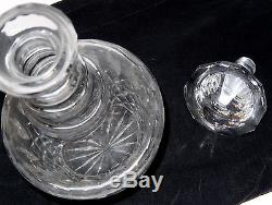 Antique Cut Crystal Glass Decanter Star Stopper Star Bottom Numbered