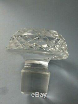 Antique Cut Glass Crystal Decanter Starling Silver Collar & Silver Whisky Label