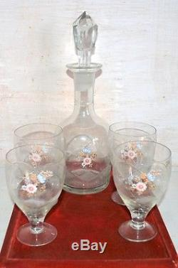 Antique Cut Glass Floral Gold Set of 4 Wine Glasses With Ewer Decanter Rare