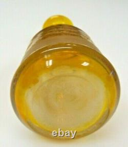 Antique Czech Bohemia Amber Cut to clear Crystal Perfume/Decanter Deer Forest