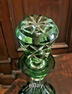 Antique Czech / Bohemian Emerald Green Cut To Clear Art Glass Decanter
