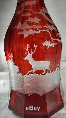 Antique Czechoslovakia Bohemia Cut Red Glass Wine Decanter 14.25 With Deer