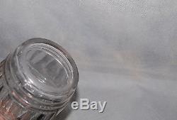 Antique English Georgian Panel Cut Barrel Shape Glass Decanter